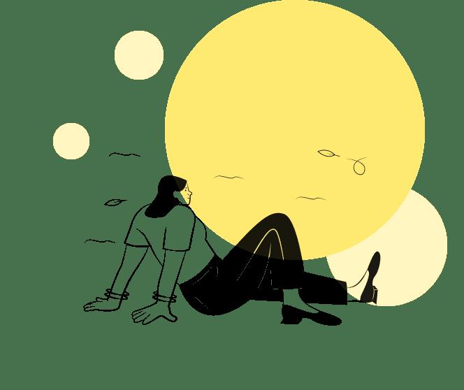 自然の中で黄昏れる人